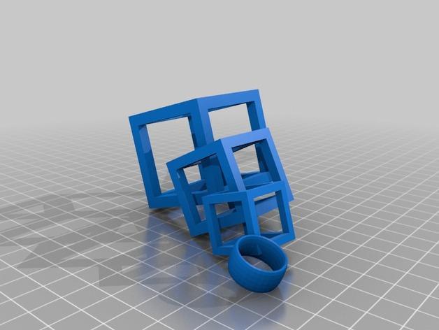 连锁方块 耳坠  3D模型  图1