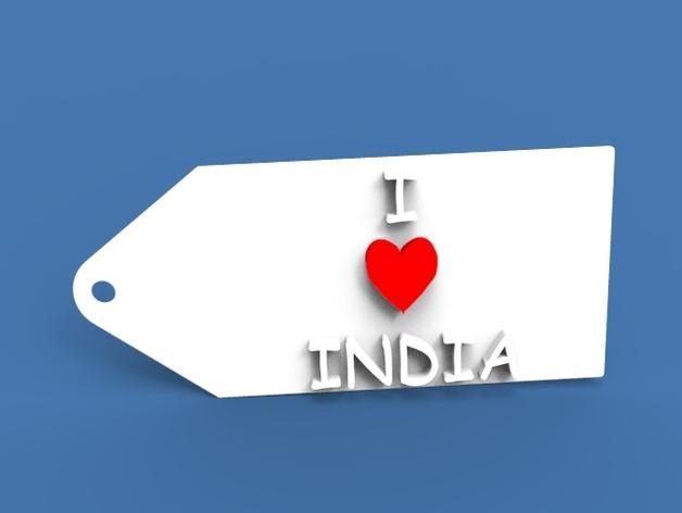 印度国旗 钥匙坠 3D模型  图2