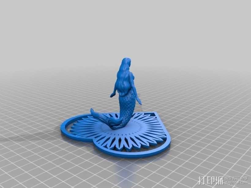 美人鱼心形珠宝盒 3D模型  图2