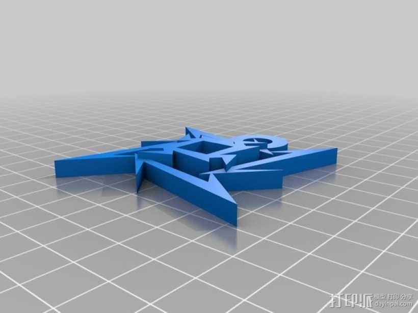 金属乐队logo 钥匙坠 3D模型  图2