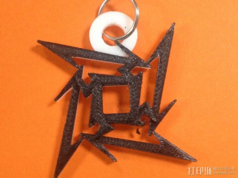 金属乐队logo 钥匙坠 3D模型  图1