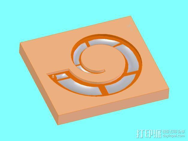 螺旋吊坠 模具 3D模型  图1