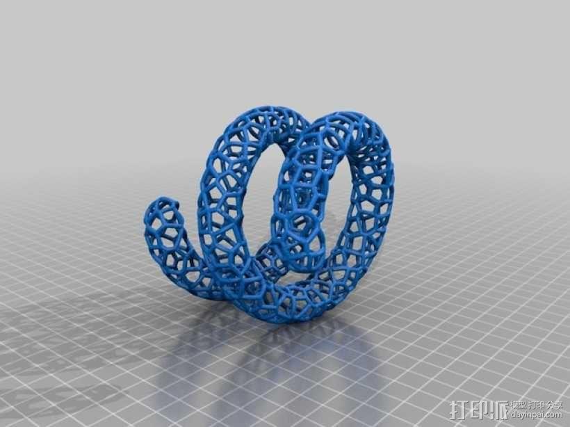 泰森多边形手镯 3D模型  图1