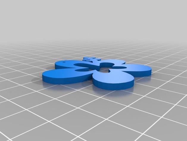 小花 项链坠 3D模型  图2