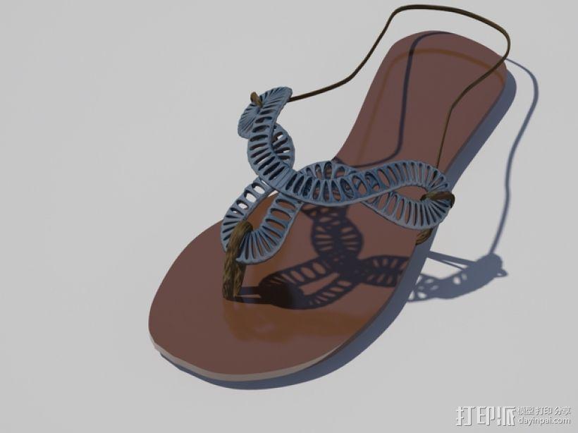 夹趾凉鞋 3D模型  图1