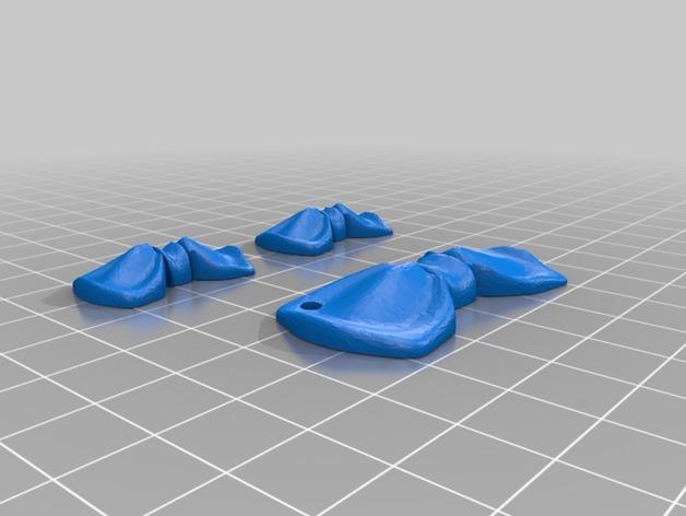 领结形 耳坠 项链坠 3D模型  图1
