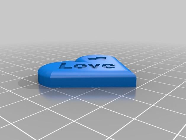 心形吊坠 3D模型  图2