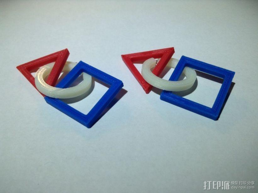 三角形 圆形 正方形 组合耳坠 3D模型  图1