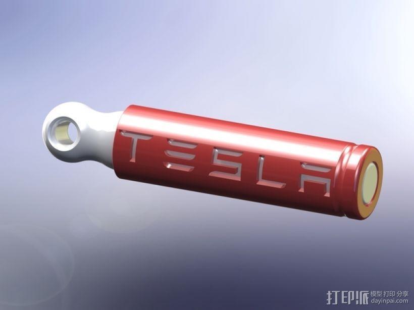 电池形 钥匙坠 3D模型  图1
