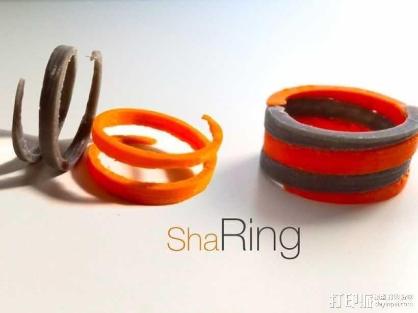 螺旋撞色戒指 3D模型  图1