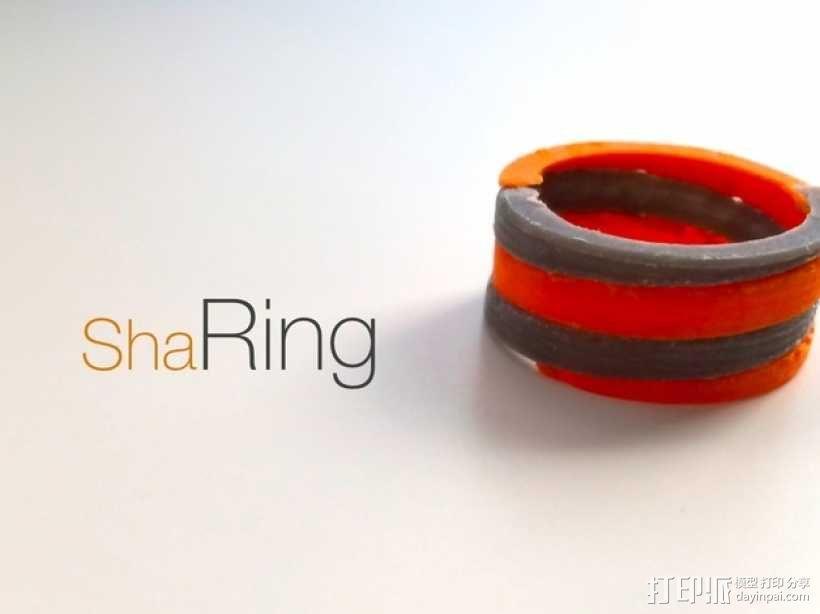 螺旋撞色戒指 3D模型  图2