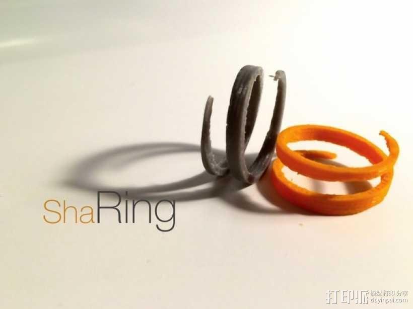 螺旋撞色戒指 3D模型  图3