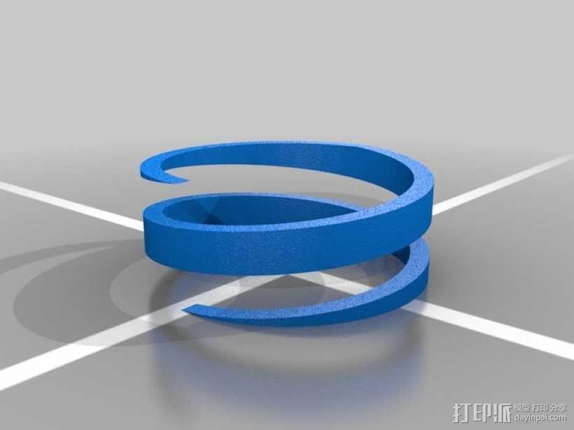 螺旋撞色戒指 3D模型  图5