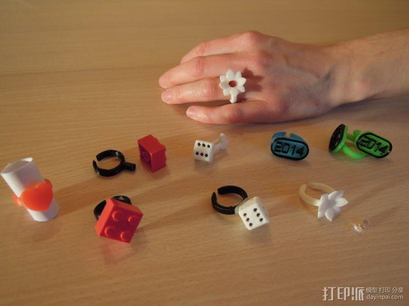 山茶花 骰子 积木 戒指 3D模型  图1