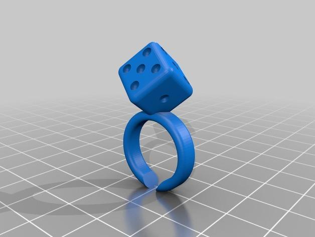 山茶花 骰子 积木 戒指 3D模型  图3