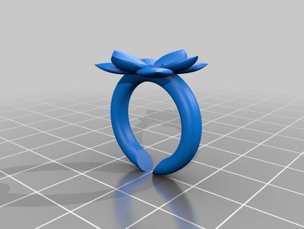 山茶花 骰子 积木 戒指 3D模型  图4
