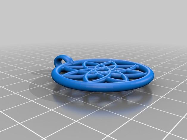 几何花形吊坠 3D模型  图3