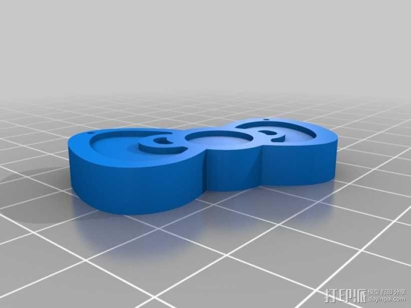 Hello Kitty蝴蝶结吊坠 3D模型  图1