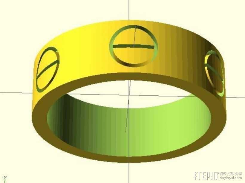 Cartier卡蒂亚戒指 3D模型  图1