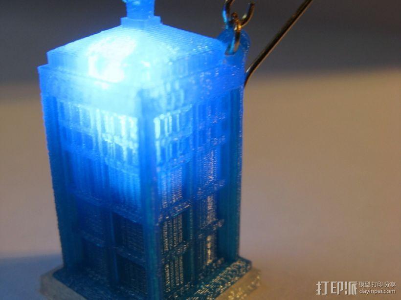 LED 电话亭时光机 耳坠 3D模型  图1