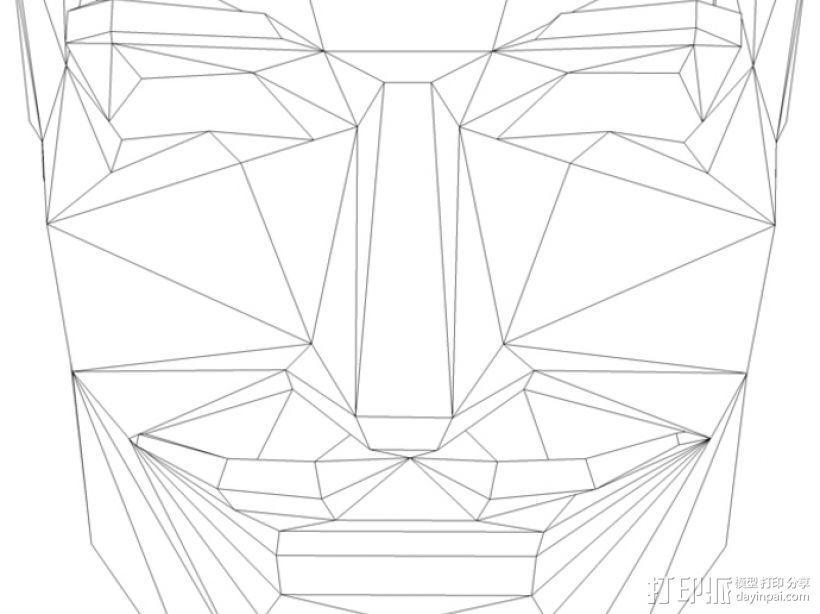 Guy Fawkes福克斯 低面数面具 3D模型  图1