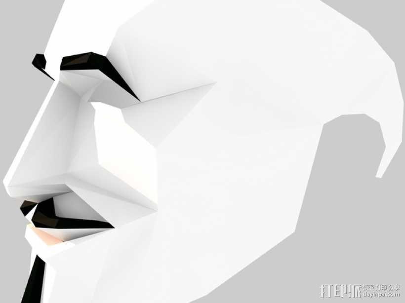 Guy Fawkes福克斯 低面数面具 3D模型  图4