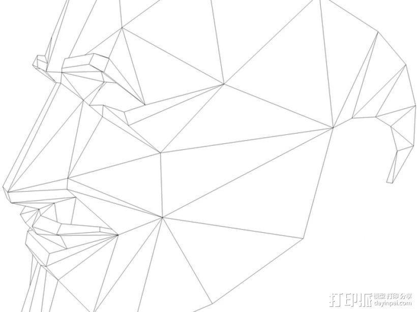 Guy Fawkes福克斯 低面数面具 3D模型  图2