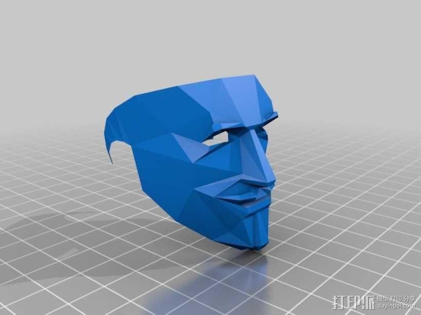 Guy Fawkes福克斯 低面数面具 3D模型  图9