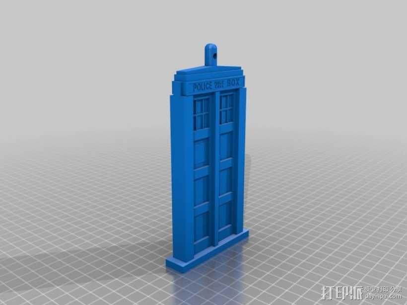 Tardis电话亭 钥匙坠 3D模型  图1