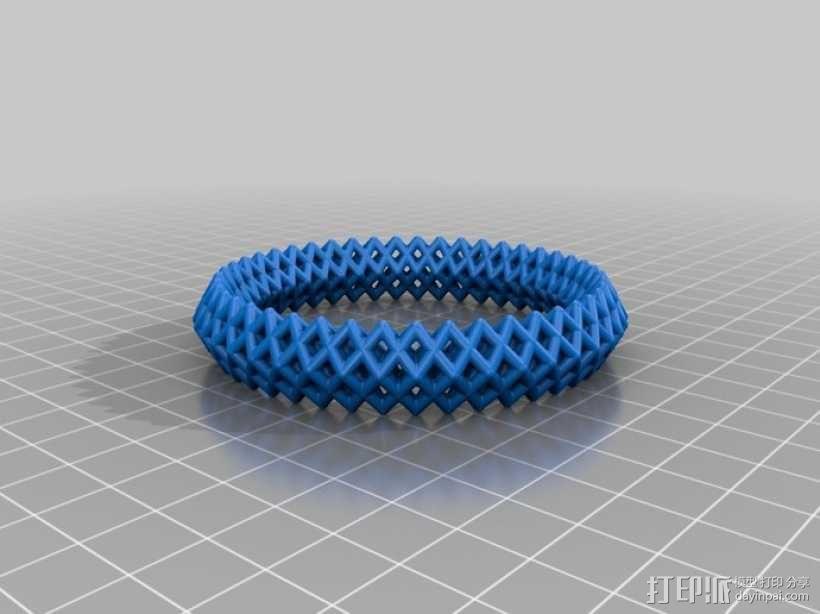 钻石形  镂空手镯 3D模型  图3
