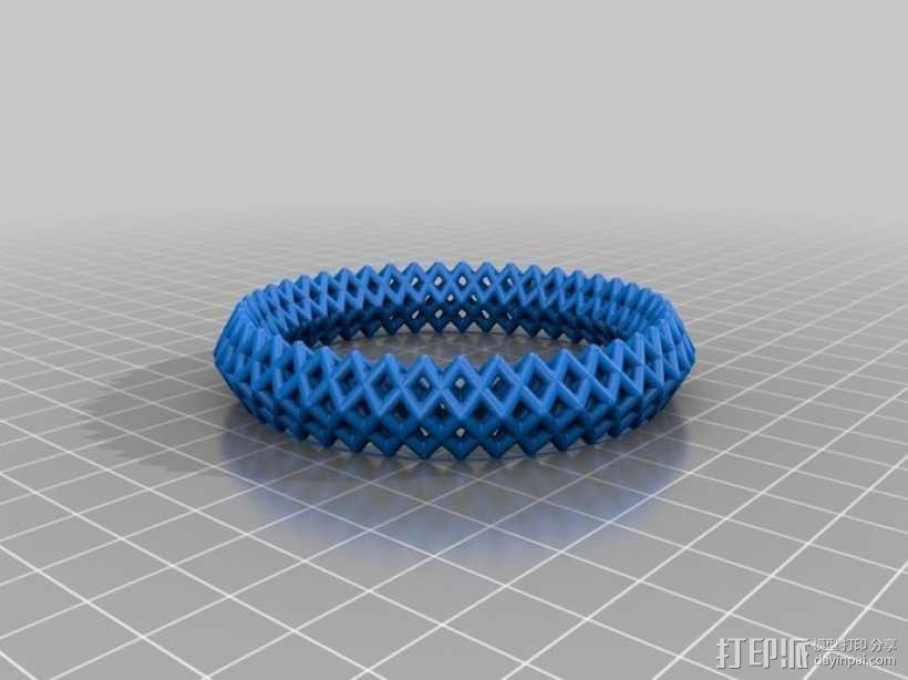 钻石形  镂空手镯 3D模型  图4