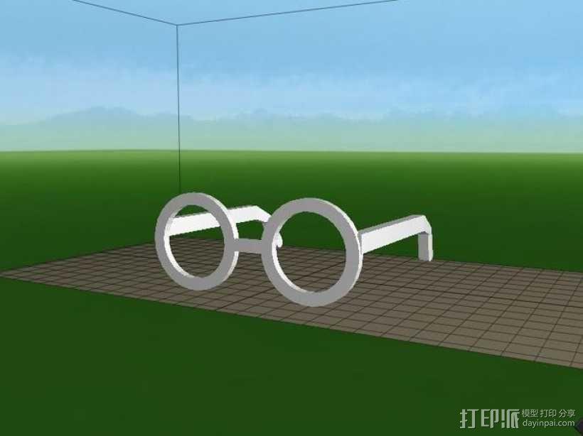 圆框眼镜 3D模型  图2