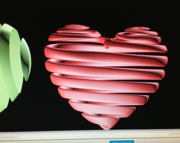 心形弹簧吊坠 3D模型  图4