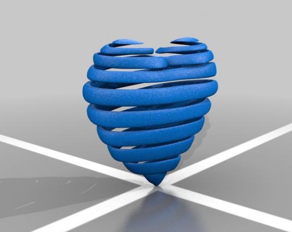 心形弹簧吊坠 3D模型  图5