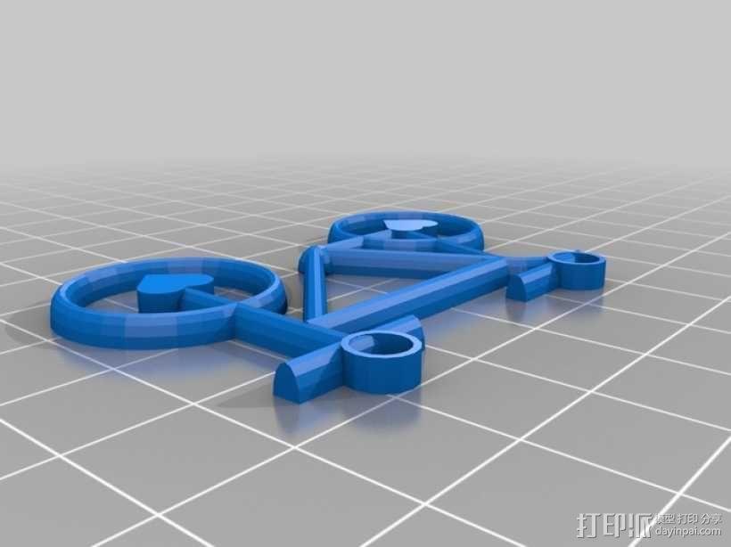 自行车 项链坠 3D模型  图1