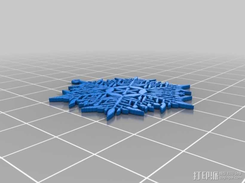 不规则雪花片 耳坠 3D模型  图1