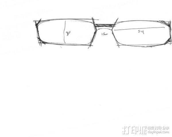3D眼镜 眼镜框 3D模型  图3