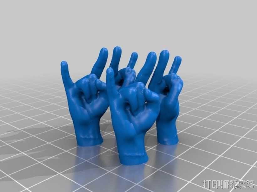 摇滚手势 耳坠 3D模型  图1