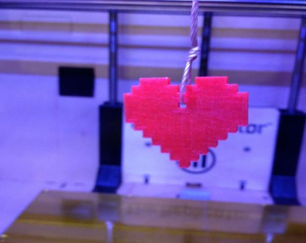 8 Bit 图素心形吊坠 3D模型  图4