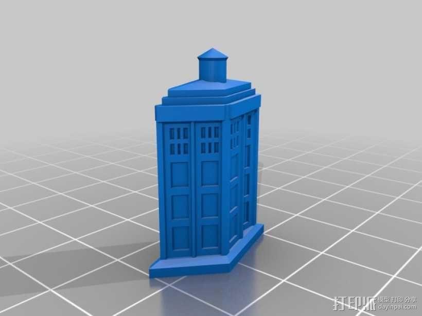 电话亭 胸针 3D模型  图1