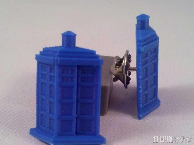 电话亭 胸针 3D模型  图2