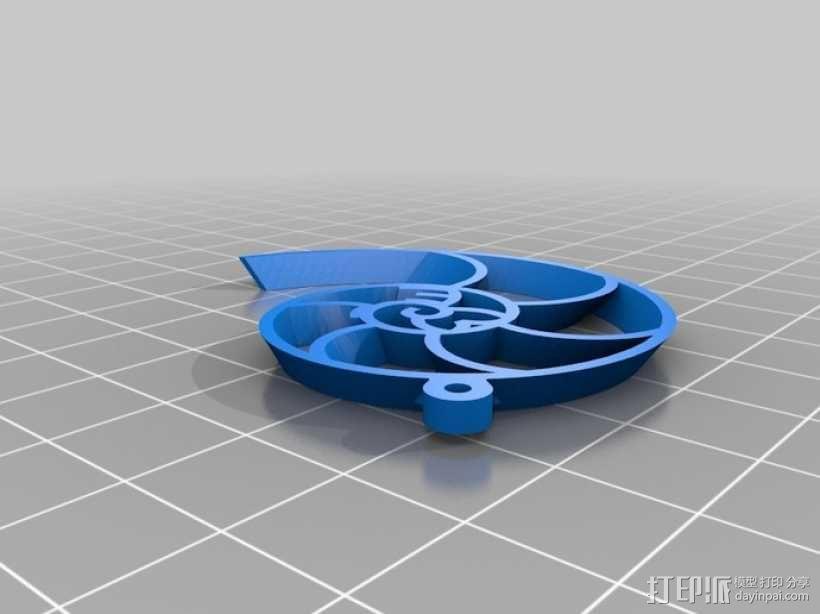 鹦鹉螺 耳坠 3D模型  图1