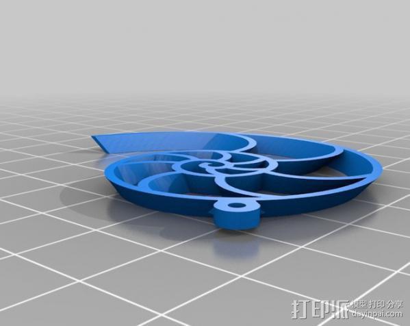 鹦鹉螺 耳坠 3D模型  图3