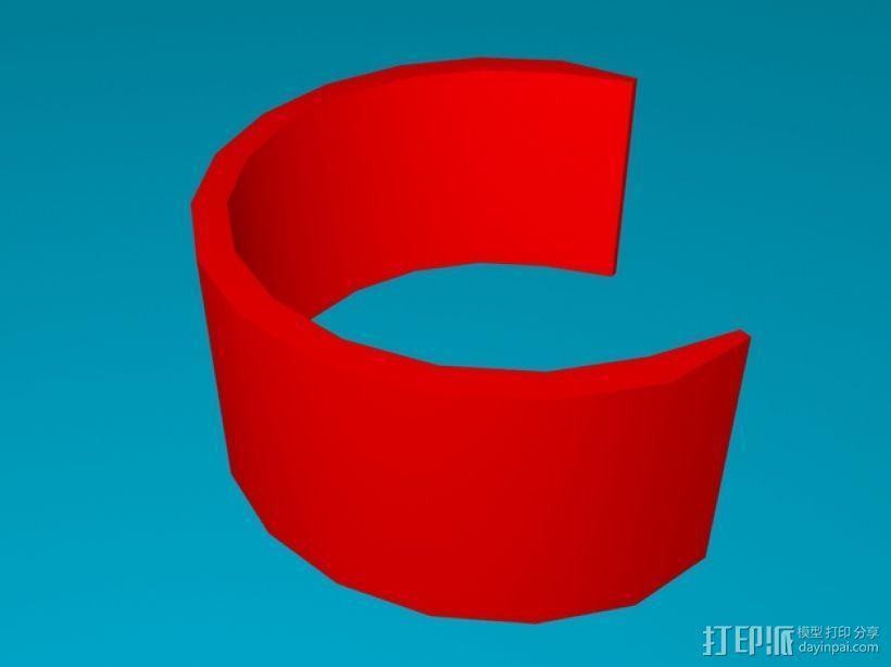 半开口手镯 3D模型  图1