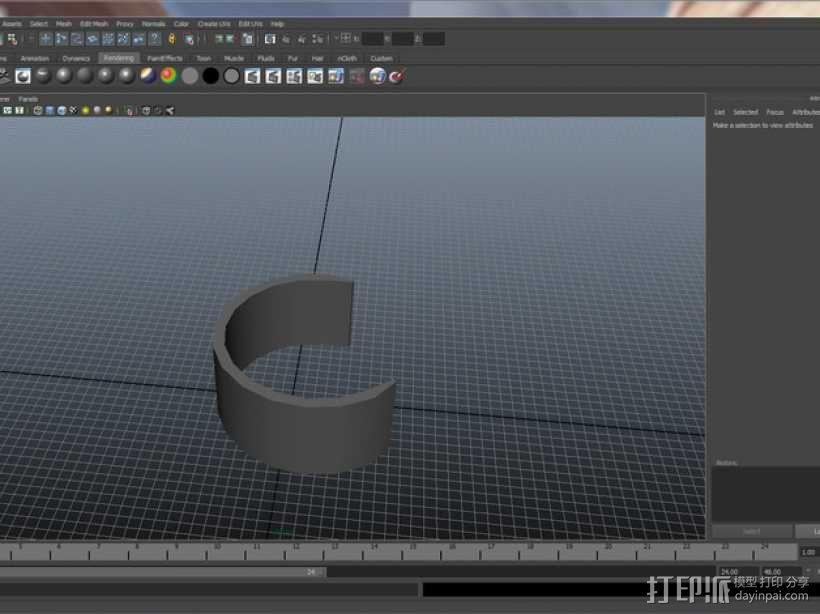 半开口手镯 3D模型  图3