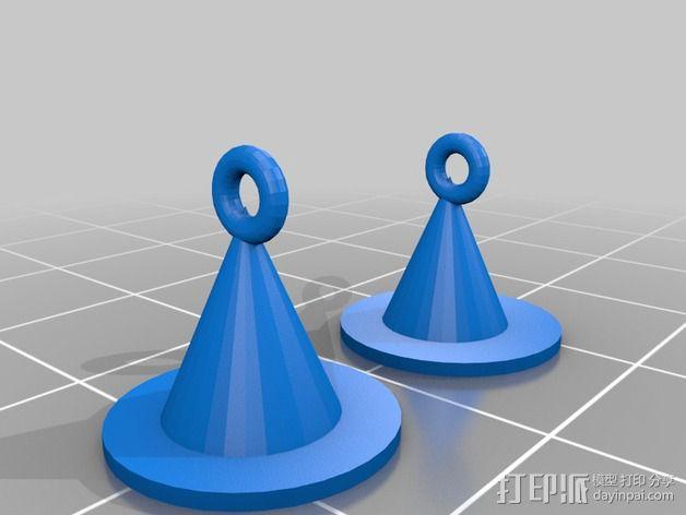 女巫的帽子 耳坠 3D模型  图1