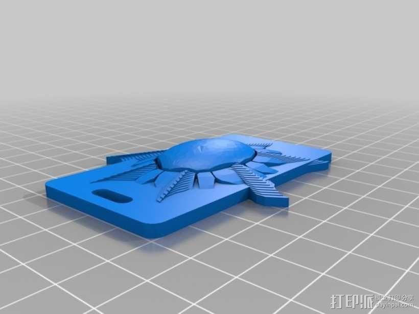 太阳 钥匙坠 3D模型  图1
