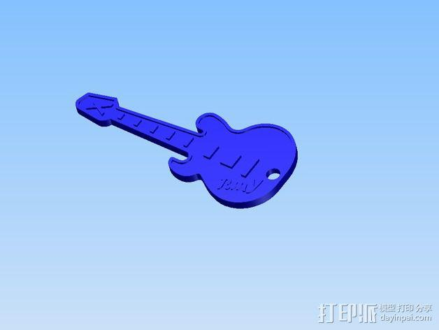 吉他 钥匙坠 3D模型  图3