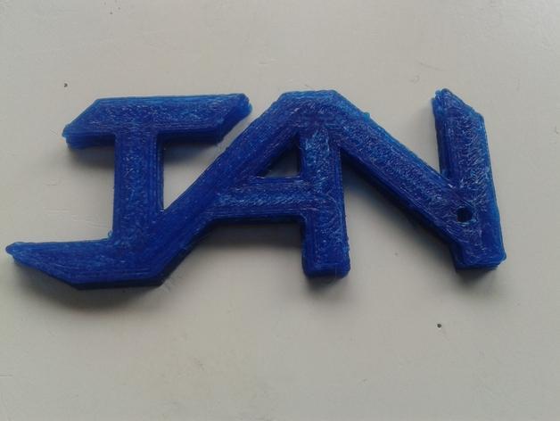 Jan字母钥匙坠 3D模型  图2