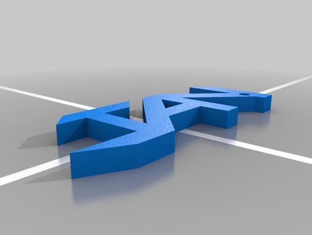 Jan字母钥匙坠 3D模型  图1